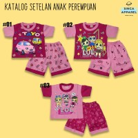 Setelan Baju Anak Cewek Perempuan Pink (Set Kaos Celana) - Katalog B