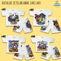 Setelan Baju Anak Cowok Laki Laki Putih (Set Kaos Celana) - Katalog B