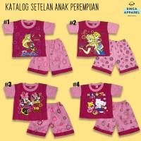 Setelan Baju Anak Cewek Perempuan Pink (Set Kaos Celana) - Katalog A