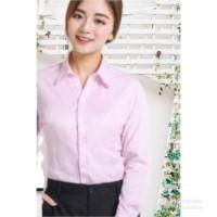 kemeja formal wanita lengan panjang pink baby