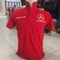 Kaos Berkerah Baju Polo Shirt Mercedes Benz Merah Bahan Katun