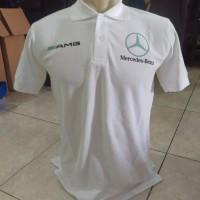 Kaos Berkerah Baju Polo Shirt Mercedes Benz Putih Bahan Katun