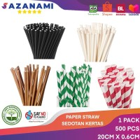PAPER STRAW 500 PCS SEDOTAN KERTAS 20CM BIODEGRADABLE STRAW