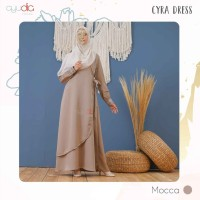 AYUDIA CYRA DRESS MOCCA GAMIS ONLY BUSUI POLOS BAHAN MORATTI FORMAL