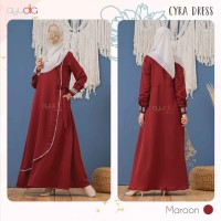 AYUDIA CYRA DRESS MAROON GAMIS ONLY BUSUI POLOS BAHAN MORATTI FORMAL