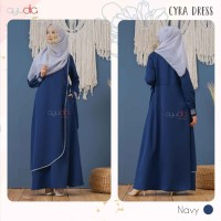 AYUDIA CYRA DRESS NAVY GAMIS ONLY BUSUI POLOS BAHAN MORATTI FORMAL