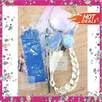 Aksesoris Rambut Frozen Elsa (Rambut+Mahkota+Tongkat+Sarungtangan) thumbnail