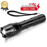 GROSIR Senter LED Tactical USB Rechargable XML-T6 10000 Lumens - E18u
