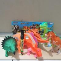 mainan dinosaurus karet besar 6 pcs dino mainan dinosaur world