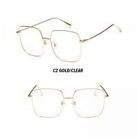 INS Fashion Square Besi Frame Kacamata Hitam Wanita Sunglasses