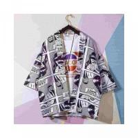 Lisa apanese Style Ukiyoe Cartoon Print Kimono Cardigan Fashion Loose