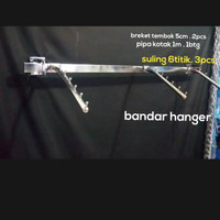 gantungan pipa kotak set dengan hanger suling