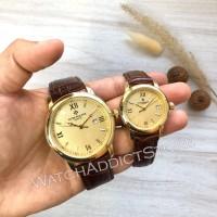 Jam Tangan Couple Pasangan PP Classic Leather Strap Brown Gold