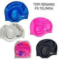 topi renang silicone karet elastis model telinga swimming cap