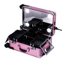 Sonia Miller Beauty Makeup Case Koper Cosmetic Box Lampu 4 tanam DPINK thumbnail