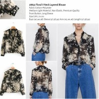 Floral V Neck Layered Blouse (size S.M.L)