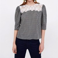 SALE - Houndstooth Mix Guipure Blouse (size S.M.L)