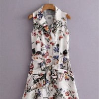 SALE - White Floral Belted Sleeveless Dress (size M.L)