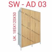 Lemari Pakaian Full Plat Besi Minimalis 3 Pintu AD03