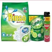 Paket Pembersih 4 Produk (Rinso, Baygon, Sunlight, Super Pell)