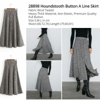 Houndstooth Button A Line Skirt (size S.M.L)