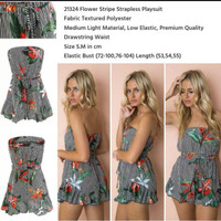 SALE - Flower Stripe Strapless Playsuit 21324 (size S.M)
