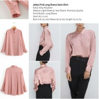 Pink Long Sleeve Satin Shirt (size S.M.L)