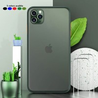 iPhone 11 Pro Max shockproof hybrid smoky tranparent color button
