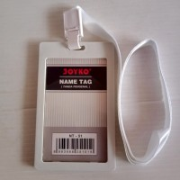 Joyko ID Card Holder 54 x 90 mm Potrait + Lanyard NT-51 White