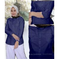 Kemeja panjang biru navy wanita kantong dua tangan skoder ( lipat)