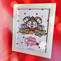 Bingkai Imlek Doodle Mouse Minimalist Frame Hadiah Dekorasi Kado Tikus