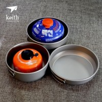 ALAT MASAK CAMPING COOKING SET TITANIUM ULTRALIGHT ORIGINAL KEITH 6053