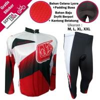 Stelan Jersey Celana Sebetis Sepeda MTB TLD Merah - Lengan Panjang