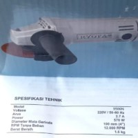 New Mesin Gerinda Tangan atau Angle Grinder 4in RYOTA 9500N