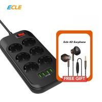 [FREE GIFT] ECLE Power Strip Stop Kontak 6 PS 4 USB Port + Earphone