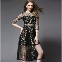 pre order women embroidery mesh dress black flower