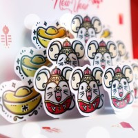 Kartu Ucapan Imlek Pop Up Card Doodle Mouse Chinese New Year 2020