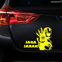 Sticker Decal Mobil Cutting Vinyl Iron Man Jaga Jarak (Ada Warna Lain)