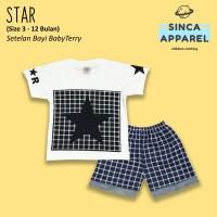 Setelan Baju Anak Bayi Baby Terry (Set Kaos Celana) - Star