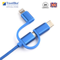 Travel Blue 3-in-1 ChargeCable USB to Micro USB,Type C Lightning TB987