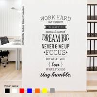 Stiker Quotes Word Hard Dream Dinding Kaca Tembok Rumah Wall Sticker - Putih