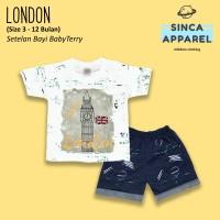 Setelan Baju Anak Bayi Baby Terry (Set Kaos Celana) - London