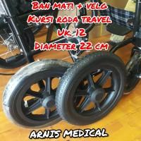"Ban kursi roda travel lengkap ban + velg ""Uk 12 ""sparepart kursi roda"