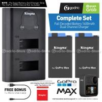 KingMa Paket Complete Baterai Charger Set Battery GoPro MAX Hero 360