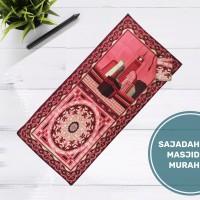 Sajadah Lipat Turki Sajadah Batik Seri Motif Marwah Serut Merah Muda
