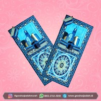 Sajadah Lipat Turki Sajadah Batik Seri Motif Marwah Serut Biru