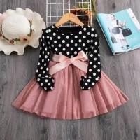 rok dress bayi anak polkadot lengan panjang cantik