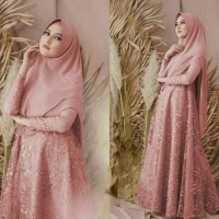 Setelan Gamis Syari / Baju Wanita Muslim Ariana Tile Mutiara Busui HQ
