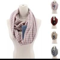 scarf infinity zipper pocket scarf hp holder / scarf ber saku kantong
