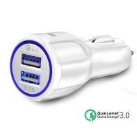 Mini USB Car Charger Qualcomm Quick 3.0 2 Ports USB PUTIH